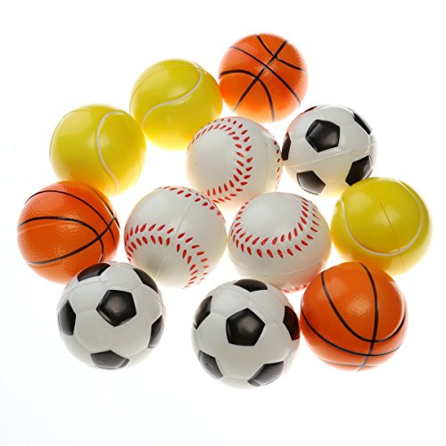 12 Pcs Soft Foam Sports Balls Football Basketball Baseball Tennis Ball for Kids