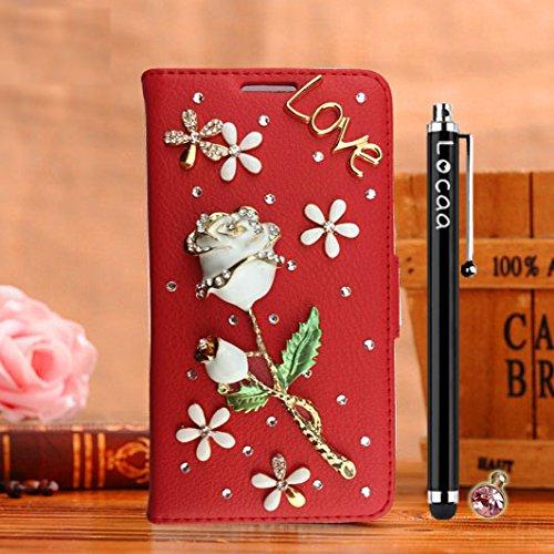 Locaa(TM) Pour Apple IPhone 7 Plus IPhone7+ (5.5 inch) 3D Bling Rose Case Coque Fait Love Cuir Qualité Housse Chocs Étui Couverture Protection Cover Shell Phone Nous [Rose 1] Blanc - Rose Bleu Rouge - Rose Blanc