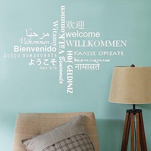 DecalMile Plurilingüe Bienvenida Blanco Letras Pegatinas Pared Desmontable Vinilo Decorativos Adhesivos Para Para Sala De Estar Dormitorio Oficinas