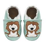 KOSHINE Weiches Leder Krabbelschuhe Baby Schuhe Kinder Lauflernschuhe Hausschuhe 0-3 Jahre (12-18 Monate, Löwe)