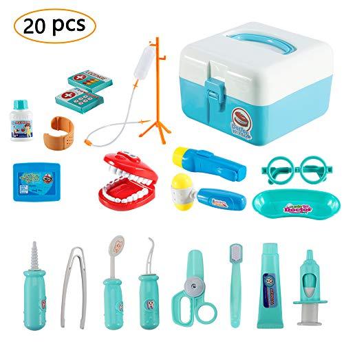 Twister.CK Childrens Doctors Kit, Zahnarzt Spielzeug Kinder Rollenspiel Werkzeug Krankenschwester Spielzeug mit 20 Stück Tragetasche für Kleinkinder Jungen, blau (Arzt Spiel)