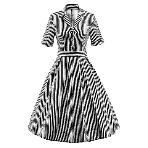 LUOUSE soie 60 's Style années 50 Vintage en tulle manches courtes Swing-Party Dress¡ Noir