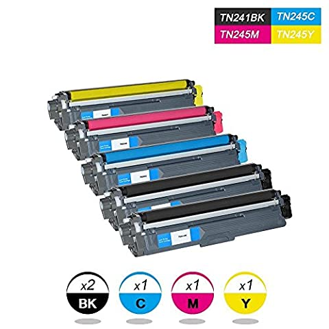 DOREE Toner Compatible pour TN241BK TN241C TN241M TN241Y pour Brother DCP-9015CDW, Brother DCP-9020CDW, Brother HL-3140CW, Brother HL-3150CDW4 Pack (Black-2500 Pages, Cyan / Yellow / Magenta-2200 pages)