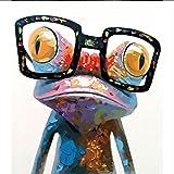 Resumen animales rana con gafas Cuadro de pintura al óleo Por números Módulo Imagen para colorear a mano Regalo único Decoración del hogar