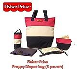 Best Diaper Bag Purses - Fisher-Price Preppy Diaper Bag Set of 5, Multi-Function Review