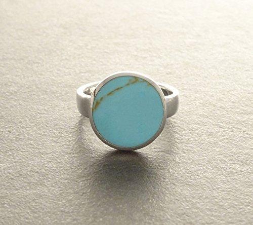 Anillo de dedo, anillo de plata, anillo redondo de plata antigua, anillo azul turquesa, plata de ley, anillo de cristal cabujón, joyería retro, anillo de cristal de cabujón, anillo ajustable, anillo de moda