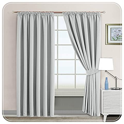 Ready Made Interwoven Thermal Super Soft Blackout Curtain with Stainless steel Rings / Eyelets inc Tie Backs (90x72 (228x183cm), Silver-Pencil)