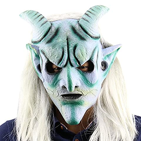 Eizur Scary Halloween Kopfmaske Latex Head Maske Horror Langes Haar König Horrormaske Karneval Kostüm Cosplay Requisiten für Fasching Partei (Coole Purge Kostüme)