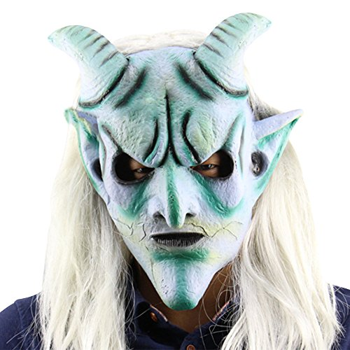 Eizur Scary Halloween Kopfmaske Latex Head Maske Horror Langes Haar König Horrormaske Karneval Kostüm Cosplay Requisiten für Fasching Partei Abendkleid