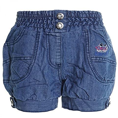 Kinder Mädchen Kurze Hose Bermuda Shorts Sommer Capri Pump Pants Jeans 20337, Farbe:Blau;Größe:146