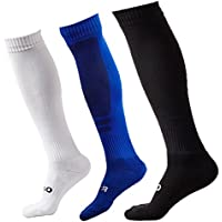 3 Pairs Cushioned Support Football Socks Non Slip Long Compression Sock High Elastic Breathable Soccer Hockey Tube Running Sports Socks - Mens &Womens UK 6.5-9.5