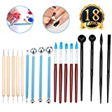 Nail Art Set ARTISTORE Clay Tools Pottery Modeling Tools,18pcs Clay Sculpting Modeling Set for Pottery Sculpture, Polymer Clay Craft and Embossing Pattern / Nail Art Set - Nail Art Rubber Brushes and Dotting Tools