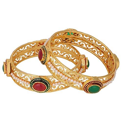 Efulgenz Indian Bollywood Traditional Ethnic Gold Plated Faux Ruby Emerald Bracelets Bangle Set Wedding Jewelry for Women