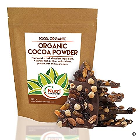 COCOA POWDER, Organic, Vegan Dark Chocolate Ingredient, Premium Quality, Unsweetened, Dairy free Superfood for Better Health, Delicious & Nutritious in Power Smoothies, Baking & Hot Chocolate (200g)