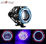 #6: AllExtreme U11 CREE LED Headlight Projector Fog Lamp with Dual Ring Red & Blue Angel Eyes Fog Light for Car Motorcycle Jeep (3000LM, Pack of 1)