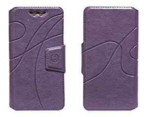 J Cover Oscar Series Leather Pouch Flip Case With Silicon Holder For Alcatel Pixi 3 (5) Purple
