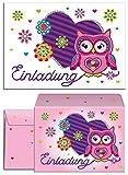 12 Einladungskarten Geburtstag Kinder Eule Herz für Mädchen Einladungen Kindergeburtstag Geburtstagseinladungen Set Partyset Kartenset Party (12 Karten + 12 Umschläge)