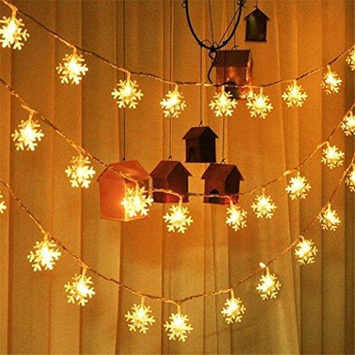 um Dekoration Licht Schneeflocken Form Lichterketten Fenster Vorhang Schneeflocke Lichterkette Weihnachtsfeier Hochzeit Garten Dekor Lichter (Gelb) (Plastik Im Freien Weihnachten Dekorationen)