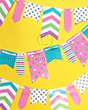 3 x 10.8ft Spot and Stripe Flag Bunting in Pink, Teal, Purple, Green and White *SPECIAL OFFER*