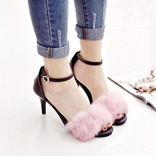 DM&Y 2017 Semplice coniglio parola cingolato pelliccia scarpe col tacco alto benissimo con i sandali sexy aperti biancone Pink