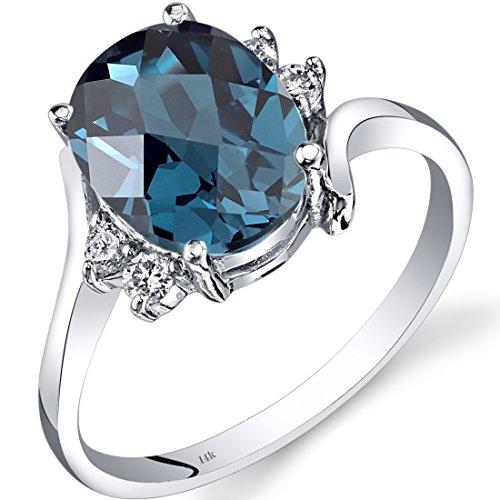 Revoni 14ct White Gold London Blue Topaz Diamond Bypass Ring 2.75 Carat