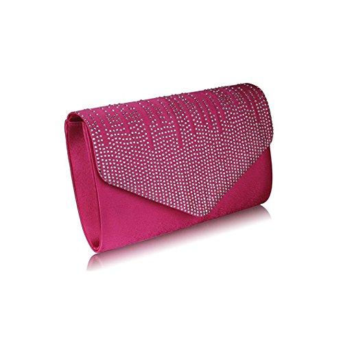 TrendStar Frauen Stilvoll Prom Party Hochzeit Taschen Damen Abend Kupplung Handtasche Satin Rosa