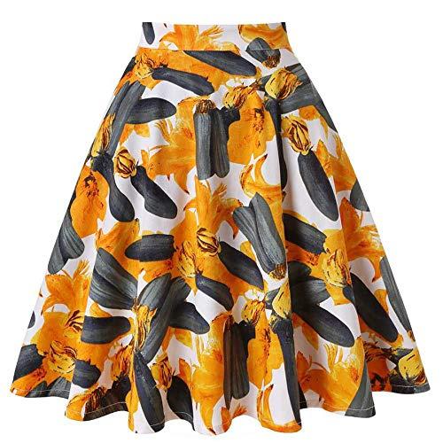 HEHEAB Rock,Amerikanischer Kürbis Orange Pflanze Blume Baumwolle Weißen Rock Frauen Sexy Sommer Rock Plus Größe Hohe Taille Frauen Mid-Calf Godet-Rock, XXL -