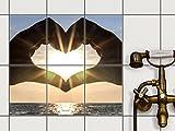 creatisto Dekorfliesen, Küchenfliesen   Fliesenfolie Sticker Aufkleber Bad Küche Fliesenposter Innendekoration   15x20 cm Design Motiv Sunny Heart - 6 Stück