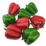 Gresorth 8 Stück Künstliche Groß Rot Grün Pfeffer Gefälschte Kunststoff