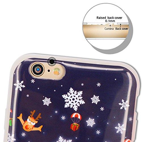 Coque iPhone 6S, Coque iPhone 6, SpiritSun Série de Noël Etui Coque TPU Slim Bumper pour Apple iPhone 6 6S (4.7 pouces) Souple Housse de Protection Flexible Soft Case Cas Couverture Anti Choc Mince Lé Père Noël et Parachute
