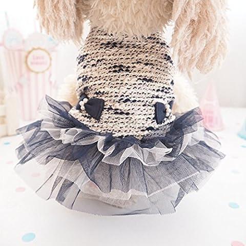 YU-K Cani abbigliamento abbigliamento piccolo cane mezzo abbigliamento abbigliamento cane cane grande vestiti principessa vento , Nero Serie L