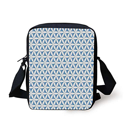 Abstract,Flower of Life Traditional Alchemy Disc Cosmos Meditation Ethnic Pattern,Light Blue White Print Kids Crossbody Messenger Bag Purse