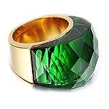 NELSON KENT Damen Edelstahl Halbe Pack Transparente Glas Ring Gold Grün Größe59(18.8)
