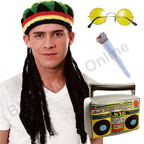 Jamaican Rasta Hat with Dreadlocks Wig, Fake Spliff, -
