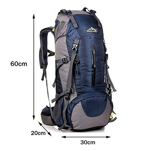 Rucksack Wandern 36L Nylon Wasserdicht Camping Tasche für Mountaineering Klettern Ski Wandern Trekking Fahrrad Abenteuer Camping Blau