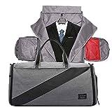 Neuleben 3in1 Anzugtasche Reisetasche Sporttasche mit Schuhfach Nassfach Wasserabweisend Faltbar Damen Herren für Reisen Sport (Grau)