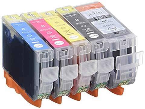 Prestige Cartridge PGI-5 CLI-8 Pack de 5 Cartouches d'encre compatible avec Imprimante Canon Pixma Séries, Noir/Noir Photo/Cyan/Magenta/Jaune