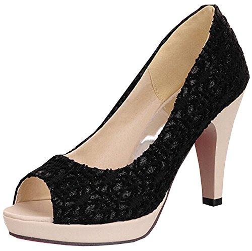 Hochwertige 2015 neue Open-Zehe-Absatz-Frauen-Pumpen Marke neue Schuhe Frauensandelholze wedding Pumpengröße 34-40.5 Schwarz