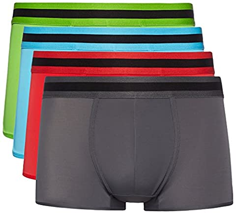FIND Boxer Taille Basse Homme (lot de 4), Multicolore (Lime X1, Classic Red X1, Charcoal X1, Pool Blue X1), X-Large