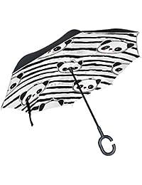 COOSUN Blanco y Negro Oso Panda de Gaza patrón de Doble Capa del Paraguas invertido inversa