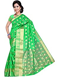 Indian Fashionista Women's Banarasi Cotton Silk Saree With Blouse Piece (KANPEACOCKK, Green Saree, Free Size)...