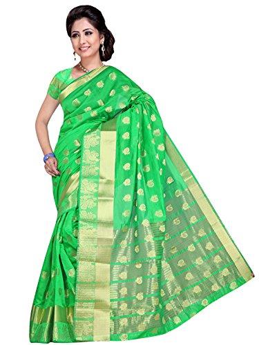 Indian Fashionista Women's Banarasi Cotton Silk Saree With Blouse Piece (KANPEACOCKK, Green Saree, Free Size)...
