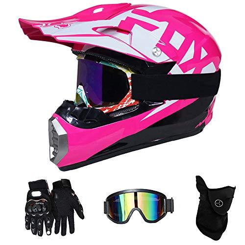 PKFG® Serie Mopedhelm Motocross Helm, HL-615 Motorradhelm 4 Set Herren Damen Fullface Motorrad Bergab Cross Offroad Enduro Mountainbike MX Helme mit Visier Brille Handschuhe Maske,PinkWhiteL - Mädchen Motocross Handschuhe