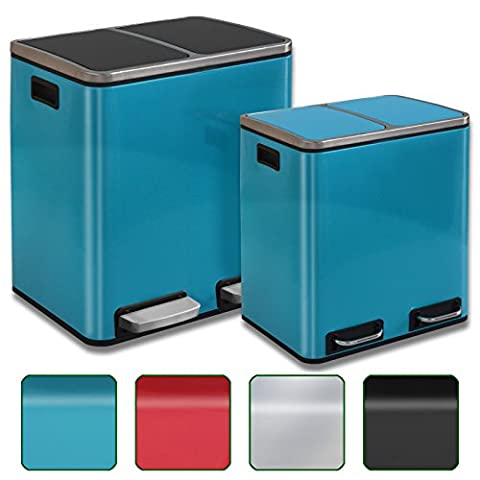 Abfalleimer Felix | Edelstahl Mülleimer mit Pedal | 2 fach Mülltrennsystem für Küche und Büro | 30 oder 60 Liter | Trend Farben zur Auswahl (60 L - Blau /