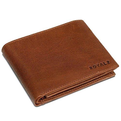 ROYALZ Leder Portemonnaie für Herren Geldbörse mit RFID-Schutz kompaktes Querformat Brieftasche im Vintage Design, Farbe:Texas Braun (Falten Braun Leder Brieftasche)