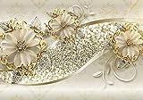 wandmotiv24 Fototapete Goldene Blüten XL 350 x 245 cm - 7 Teile Fototapeten, Wandbild, Motivtapeten, Vlies-Tapeten Ornamente, Blumen, Ranken M1858