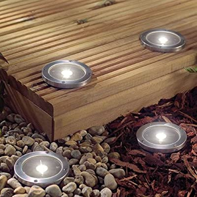 Solalite® 2 Pack Solar Powered Ground Light Waterproof Garden Pathway Lights With 3 LEDs for Home, Yard, Driveway, Lawn