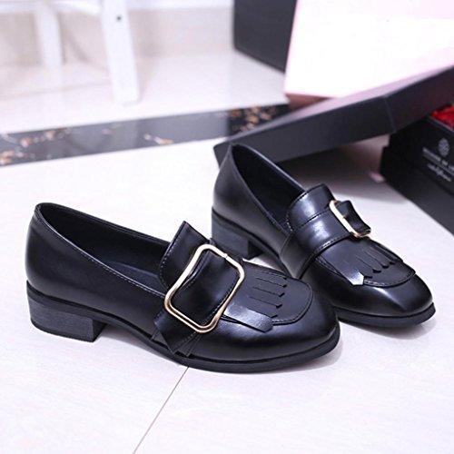 Hunpta Frauen Freizeit britischen Stil Leder Quaste Schuhe Slipper Freizeitschuhe Schwarz