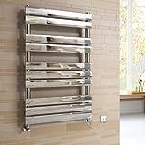1000x600 mm Electric Chrome Designer Flat Panel Towel Rail Radiator Heated Bathroom