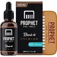 Prophet and Tools ¡Conjunto de peine de barba y aceite de barba! GRATIS Ebook de cuidado de la barba incluido - Todo en uno sin olor acondicionador sin enjuague, suavizante y crecimiento más rápido